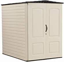 Rubbermaid Large Plastic Vertical Resin Weather Resistant Storage Shed, Bike Shed, Lawn Mover Storage, 5 x 6 Feet, Sandstone