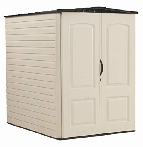 Rubbermaid Large Vertical Resin Weather Resistant Outdoor Garden Storage Shed, 5x6 Feet, Sandstone