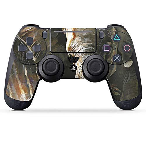 DeinDesign Skin kompatibel mit Sony Playstation 4 Slim PS4 Controller Aufkleber Folie Sticker Elefant Natur Zeichnung