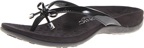 Vionic Women's Rest Bella II Toepost Sandal - Ladies Flip Flop with Concealed Orthotic Arch Support Black 8 Medium US
