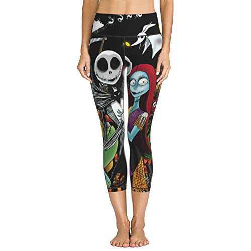 Keling The Nightmare Before Christmas High Waist Yoga Pants for Women Stretch Women Leggings for Workout Training Running Large