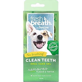 Tropiclean Fresh Breath de Gel de Soin Bucco-Dentaire pour Chiens - Dents Propres, sans Brossage - Prévient la Plaque et Le Tartre & Parodontite- Original- 118 ML
