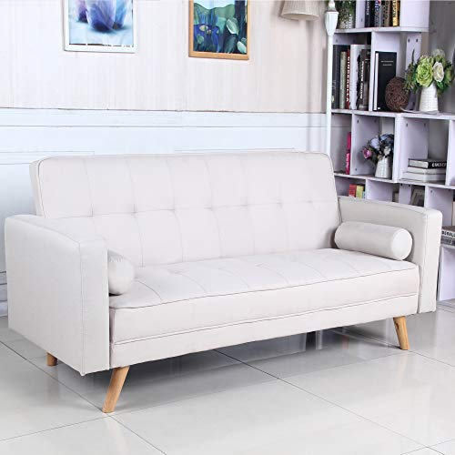 Sofá Cama 3 plazas Clic Clac Davao Beige tapizado con Tela 100% Poliéster, Patas de Madera