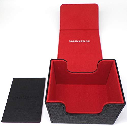 docsmagic.de Premium Magnetic Sideflip Box 100 Black/Red + Deck Divider - MTG - PKM - YGO - Kartenbox Schwarz/Rot