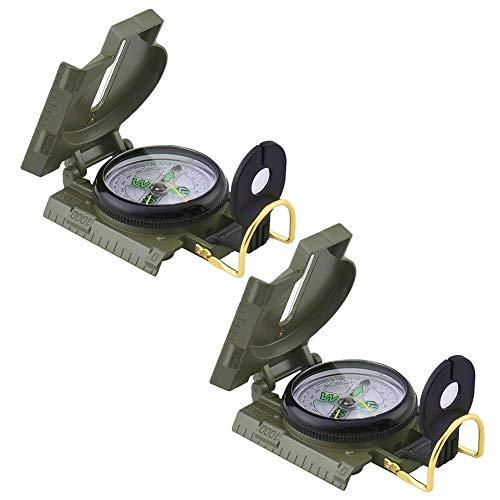 Militaire Boussole, BETOY 2 pcs Multifonctionnelle Portable Boussole Prismatic Sighting Compass pour Randonnée Camping Escalade Activités de Plein Air, Vert Armée