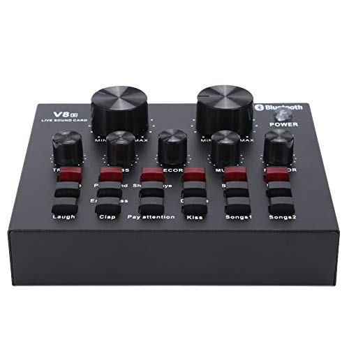 External Sound Cards, V8S Live Broadcast Sound Card Audio DJ Mixer,Mobile...