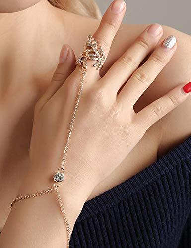 Chargances Fashion Women Hand Harness Bracelet Linked Finger Bracelet Finger Ring Bracelet Women Ladies Belly Dance Gypsy Jewely Wedding Bride Adjustable Chain Bracelet Women accessories (Gold)