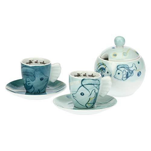 THUN - Set 2 Tazzine caffè e zuccheriera Mare - Porcellana - 110 ml - Ø 6 cm - Zuccheriera h 12 cm