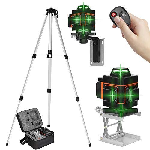 KKmoon Niveau Laser 360° 4D 16 Lignes, Outil de Niveau avec Fonction d'auto-nivellement + Support de Trépied de Barre d'extension en Alliage Réglable de 1,5 M 3 Hauteurs avec Sac de Transport