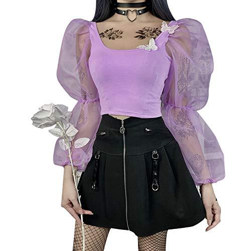 Carolilly - Camiseta para mujer con cuello cuadrado y mangas de búfalo transparente de malla...