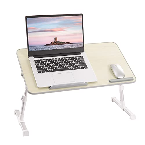 Rentliv Laptop Bed Tray Table, Adjustable Laptop Stand with Foldable Legs, Portable Lap Desk for Working, Writing, Drawing, Eating, Gaming, Computer Tray for Bed Sofa Couch Floor- Beige Large Size