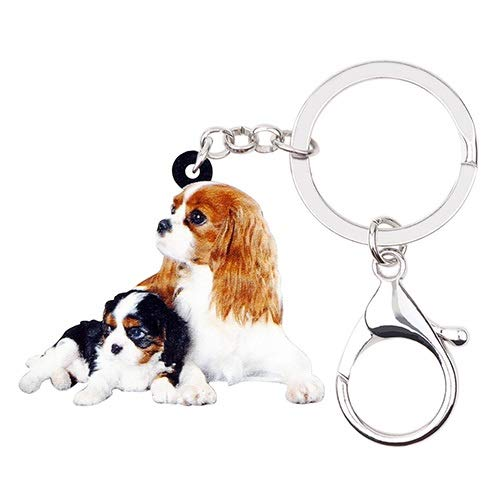 LMHSR Keyrings Keychain for Women Key Ring Keychains Acrylic Cute Double Cavalier King Charles Spaniel Dog Key Chains Keychains Rings Bag Car Charms Jewelry for Women Girls Charm Pendant Decoration