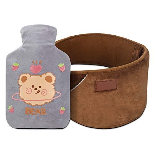 Mopoin Wärmflasche, Wärmeflasche Bettflasche Wärmflaschen mit 2 Weichem Bezug Sicher Warm Hot Water Bottle fur Schultern, Rücken und Taille Müdigkeit lindern Erwachsene, Kinder Warm halten