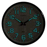 Plumeet Night Light Wall Clocks - 13'' Clock with Silent Non-Ticking Glowing Function - Good for Home Kitchen Bedroom - Large Number Battery Operated (Blue Light)