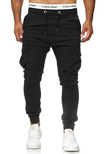 Code47 Herren Chino Jogg Jogger Jeans Slim Fit Cargo Stretch W29-W38 Schwarz W30 L32