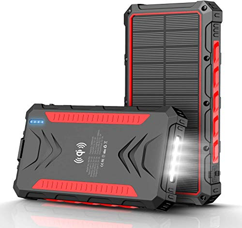 Solar Power Bank 32800mAh Power Bank, Solar Charger,Portable Charger, Outputs 5V/3A High-Speed & 2 Inputs Huge Capacity Phone Charger for Smartphones, IP66 Rating, Strong Light LED Flashlights(Red)
