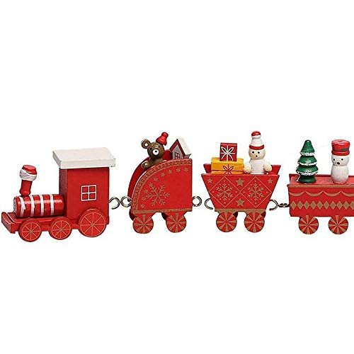 ACWERT Wooden Train Ornament for Christmas Festive Tree Hanging Showcase Window Desktop Decor Mini Santa Claus Snowman Home Xmas Table Art Craft Gift on Board for Cozy New Year for Baby (red)