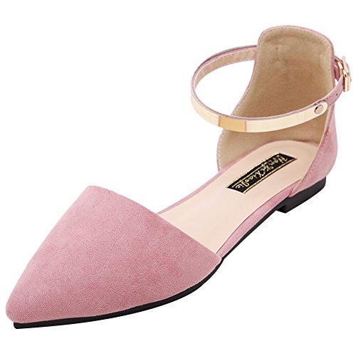 Jamron Mujer Dedo Punteado Terciopelo Bailarinas Elegante D'orsay Pumps Plano Zapatos de Vestir Rosado SN02330 EU40.5