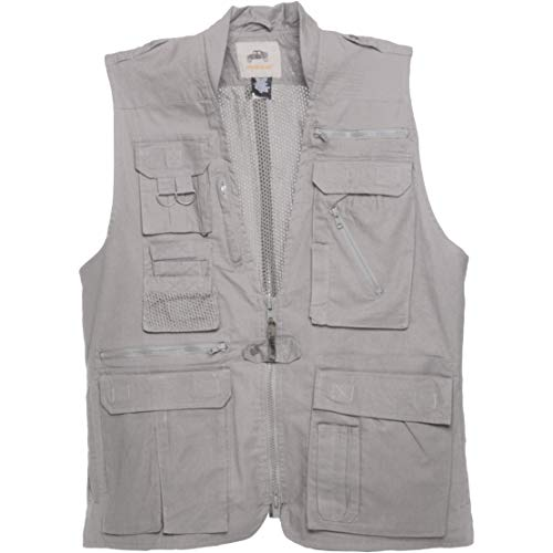 Humvee HMV-VS-K-S Small Cotton Safari Vest with Extra Pockets, Khaki