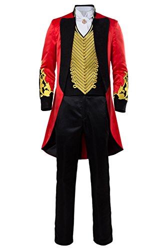 Halloween Adulte Gothique Queue de Pie Costume Cirque pour Homme Ringmaster Deguisement Performance Uniforme Or Rouge Veste de Velours Brode Gilet Manteau-M