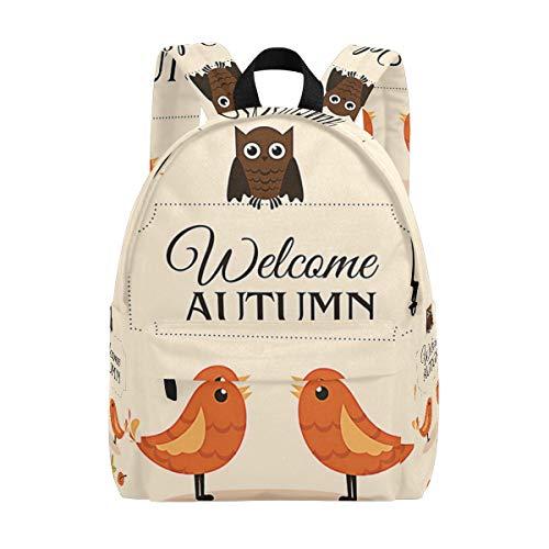 Herbstvögel Schulrucksack, bedruckter Tagesrucksack, modischer Schulranzen für Herren Damen Jungen Mädchen