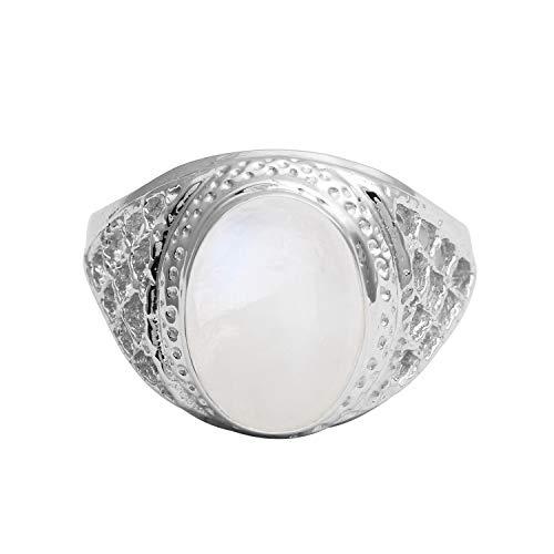 Shine Jewel Oval Cab Regenbogen Mondstein Criss Cross Schaft gehämmert Lünette Set 925 Sterling Silber Ring (49 (15.6))
