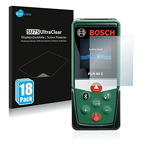 Savvies 18x Schutzfolie kompatibel mit Bosch PLR 40 C Displayschutz-Folie Ultra-transparent