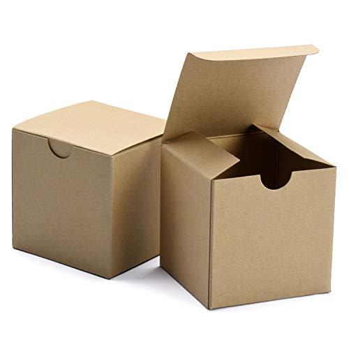 Switory Cajas de Regalo de 50 Piezas con Tapas, 10x10x10cm Cajas de Regalo de Papel Kraft para Hacer Manualidades, Magdalenas, Cajas de cartón para Dama de Honor, Favor de Boda marrón