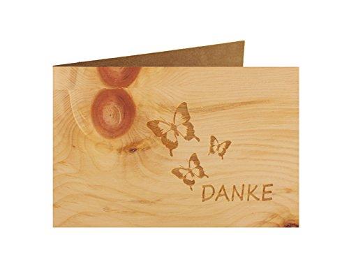 Holzgrußkarte - Dankeskarte- 100% handmade in Österreich - Postkarte Glückwunschkarte Geschenkkarte Grußkarte Klappkarte Karte Einladung, Motiv:DANKE