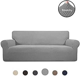PureFit Stretch Oversized Sofa Slipcover – Spandex Jacquard Non Slip Soft Couch Sofa Cover, Washable Furniture Protector with Non Skid Foam and Elastic Bottom for Kids (Oversized Sofa, Light Gray)