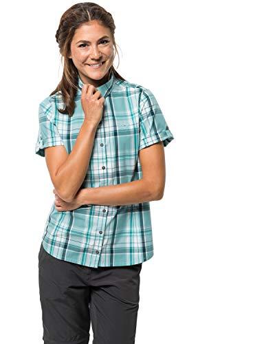 Jack Wolfskin Damen Bluse Maroni River Shirt, Aqua Checks, S, 1402412