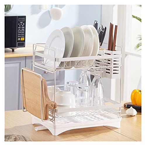 KUYUC Escurridor Platos 2 Niveles, Escurreplatos Acero Inoxidable con Porta Cubiertos y Escurridor para Cocina (Color : White)