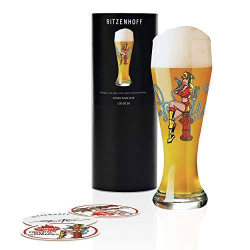 Ritzenhoff - Bicchiere da birra frumento Steven Flier, in cristallo, 500 ml, con cinque sottobicchieri