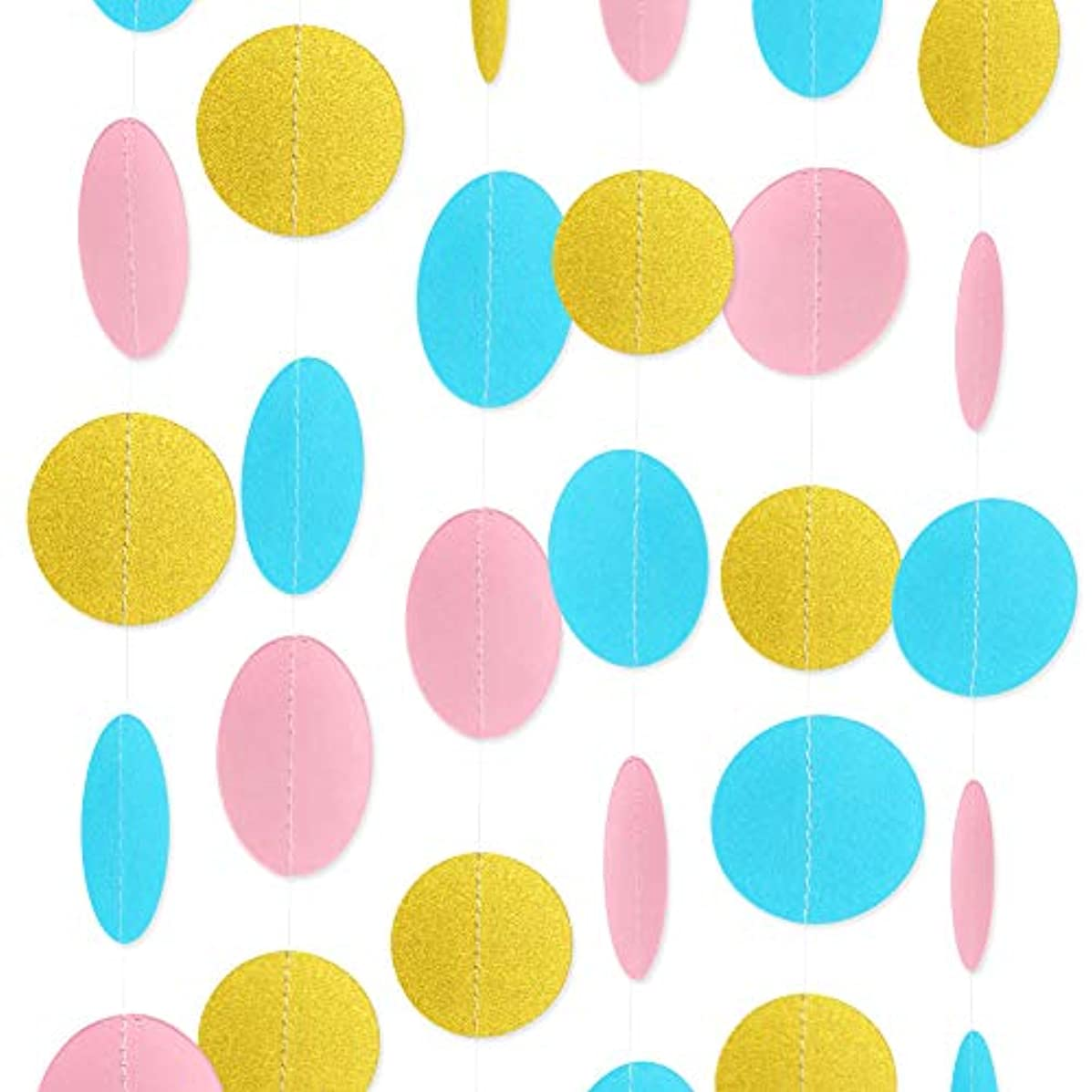Paper Garland Circle Dots Streamer Backdrop Hanging Decorations for Birthday Baby Shower Wedding Decor - 5 Pack, 6.6 Feet Each (Pink,Blue,Gold)