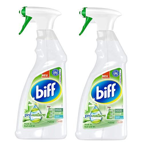 Biff Pro Nature, Badreiniger, Sprühflasche, 2er Pack (2 x 750ml) mit 99,9 Prozent naturbasierten Inhaltsstoffen und nachwachsenden Rohstoffen aus nachhaltigem Anbau