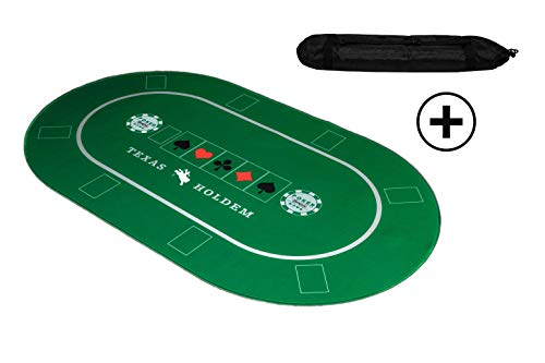 KrockaZone. - XXL Profi Pokermatte 100 x 60cm + Tragetasche - Unterlage Pokertisch/ Poker Tischauflage/ Pokerteppich/ Pokertuch