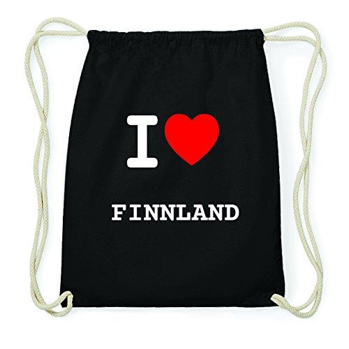 JOllify FINNLAND Hipster Turnbeutel Tasche Rucksack aus Baumwolle - Farbe: schwarz – Design: I Love- Ich Liebe - Farbe: schwarz