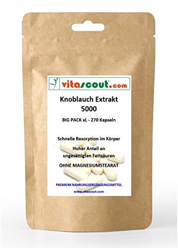 Knoblauch 270 Kapseln je 5000mg (=Extrakt 50mg 100:1) HOCHDOSIERT / Garlic - OHNE MAGNESIUMSTEARAT - PREMIUMQUALITÄT von VITASCOUT®