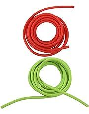Fransande 2 Stks Tubing Oefening Rubber Resistance Band Katapult Dub Slingshot Elastiek 2.5M, Rood & Groen