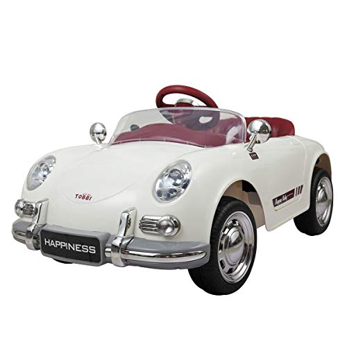 Sandinrayli White Kids Ride On Vintage Style Battery Powered Electric Car w/Remote Control