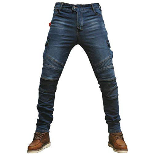 Yuanu Jeans Homme Pantalon De Moto Slim Fit Décontractée Pantalon en Jean pour Hommes & Femmes Doublure De Protection avec Équipement De Protection 4 * (Inclus dans Le Pantalon) Bleu M