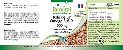 Flachsöl Leinöl Omega-3-6-9, kaltgepresst, reich an Alpha-Linolensäure, 120 Softgels - 5