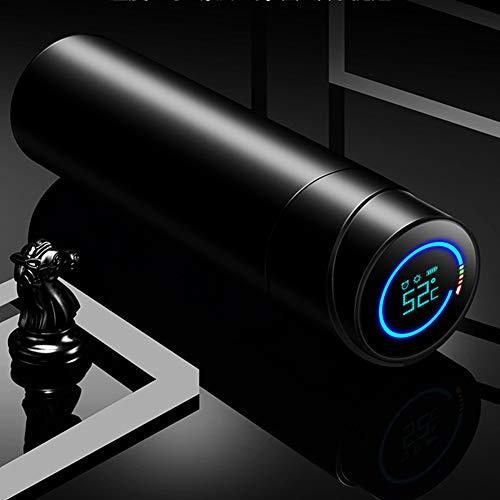 Botella de Agua aislada, Tazas de Viaje UV, Modo de recordatorio Inteligente, Temperatura de Pantalla LED HD, 450 ml-Black