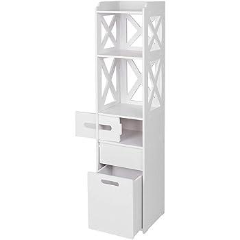 IKAYAA Mobiletto da Bagno di Alta Mobile a Colonna da Bagno Mobile da Bagno da Pavimento Organizzatore Portaoggetti Multifunzione Bianco 37 x 30 x 160 cm