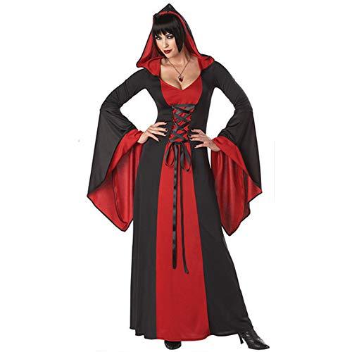 HOAPL Disfraz de Bruja Hechicera para Mujer Disfraz Elegante Sombrero Capa Disfraz de Fiesta de Halloween para Adultos,Rojo,F