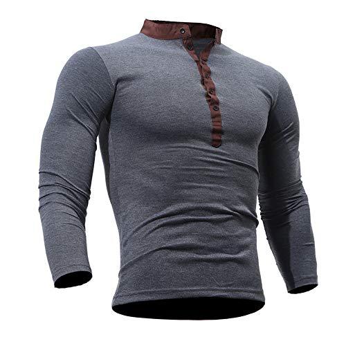 Sport T-Shirt Herren Sweatshirt Slim Fit Langarm Shirt Bluse für Jogging Tops Freizeit Pullover Langarmshirts Männer Frühling Herbst Baumwolle Pullover Sweatshirt Outwear (M, Grau)