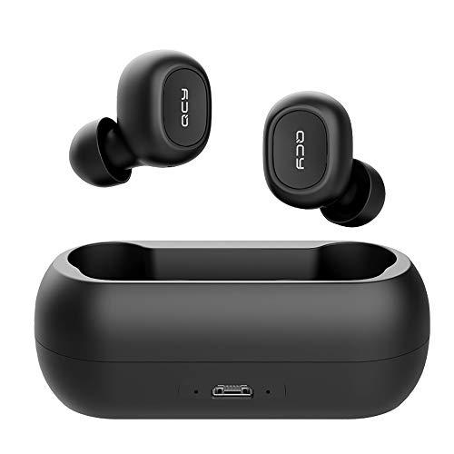 hifi QCY T1 TWS 5.0 Auriculares Bluetooth Inalámbricos Estéreo 3D con Micrófono Dual Reducción de Ruido Pasivo Binaural Talk Baja Latencia para Android iOS Win10black