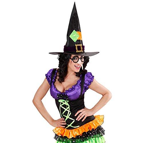 Amakando Nez sorcière avec Lunettes et Sourcils magicienne Sourcils Noirs en Plumes Nez crochu soirée à thème Halloween Accessoire Carnaval