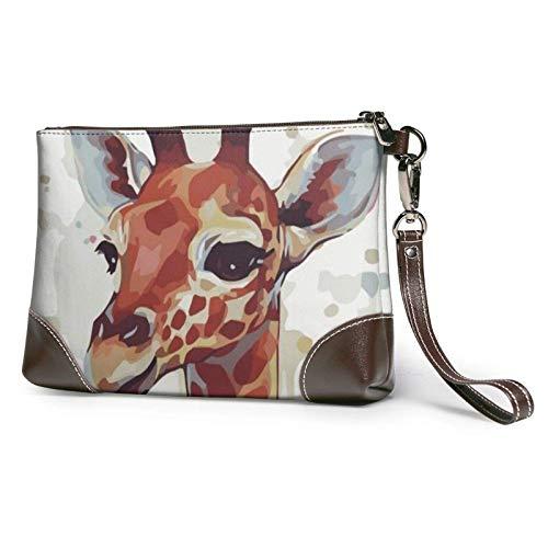 XCNGG Elegante animal acuarela jirafa estampado embrague monedero de cuero desmontable cartera cartera bolso de mujer