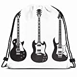 DHNKW Drawstring Backpack String Bag 14X16 Modern Isolated Gibson Jazz Electrical Set February 10 Black Les White Guitar Electric Metal Acoustic Audio Sport Gym Sackpack Hiking Yoga Travel Beach